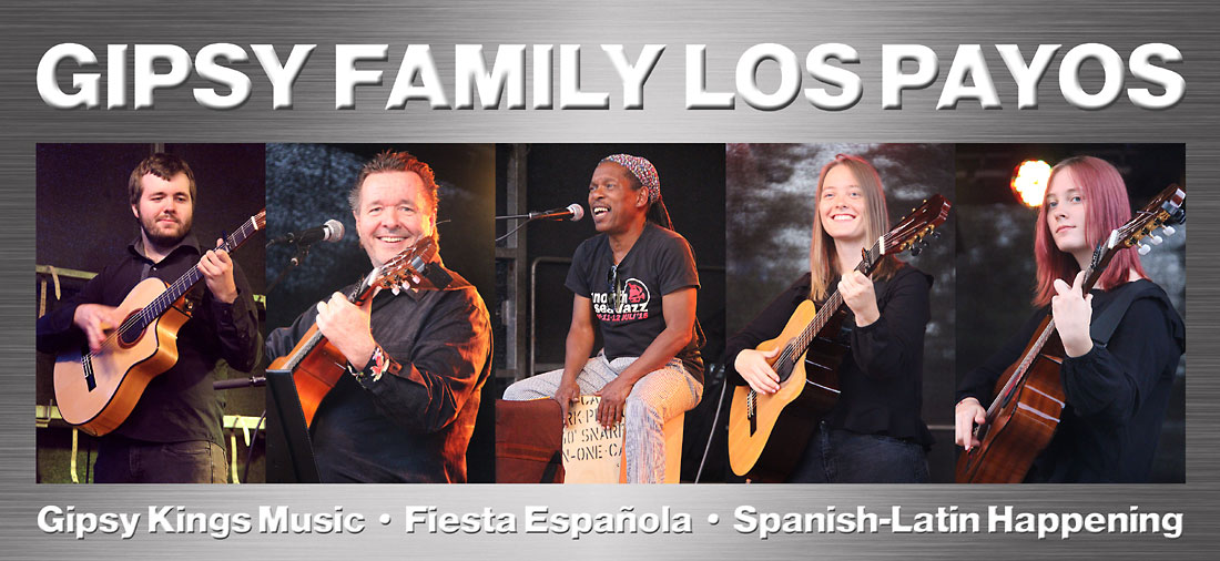 Die spanische Gipsy Kings Coverband Gipsy Family Los Payos mit vier Gitarren und Percussion