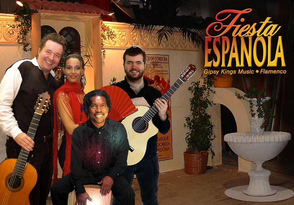 Fiesta Espanola mit der spanischen Band Los Payos und einer Flamencotänzerin hinter spanischer Kulisse