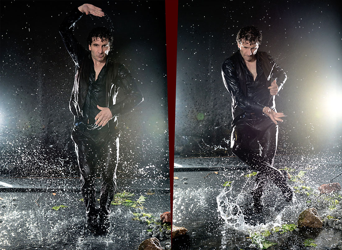 Flamencotänzer José Fortes tanzend im Regen