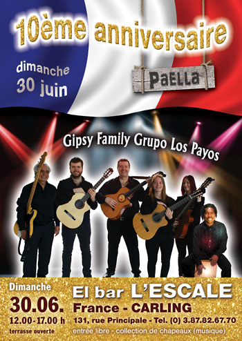 Spanische Musik mit der Gipsy Kings Coverband Gipsy Family Los Payos mit französischer Flagge