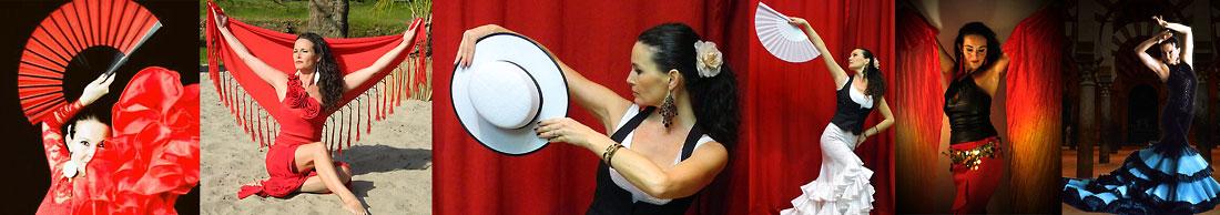 Flamencotänzerin in verschiedenen Flamencokleidern mit Hut, Fächer und Manton