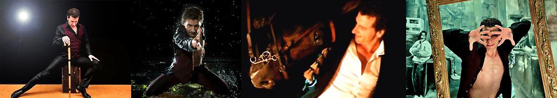 Der spanische Flamencotänzer José Fortes in verschiedenen Posen mit Baston und mit einem spanischen Pferd