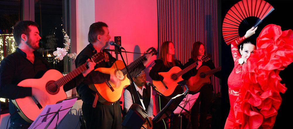 Spanische Band Los Payos mit ihren spanischen Gitarren und einer Flamencotänzerin