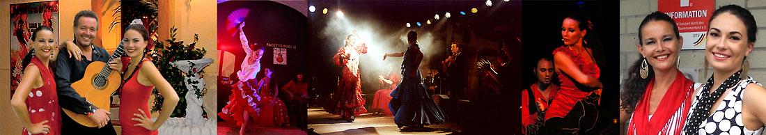 Spanischer Sänger und Gitarrist René el Payo mit zwei spanischen Flamencotänzerinnen