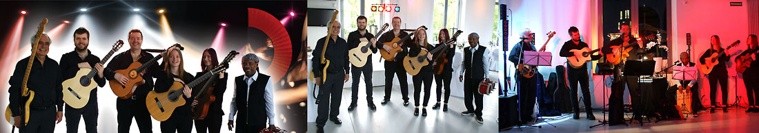 Die spanische Gipsy Kings Coverband Los Payos mit vier Gitarren, Bass und Percussion