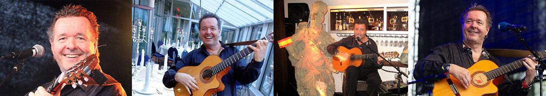 Der spanische Sänger und Gitarrist René el Payo mit seiner spanischen Gitarren bei verschiedenen Auftritten