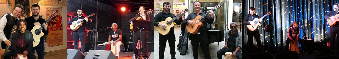 Livefotos der spanischen Band Trio Los Payos mit zwei spanischen Gitarren und Percussion