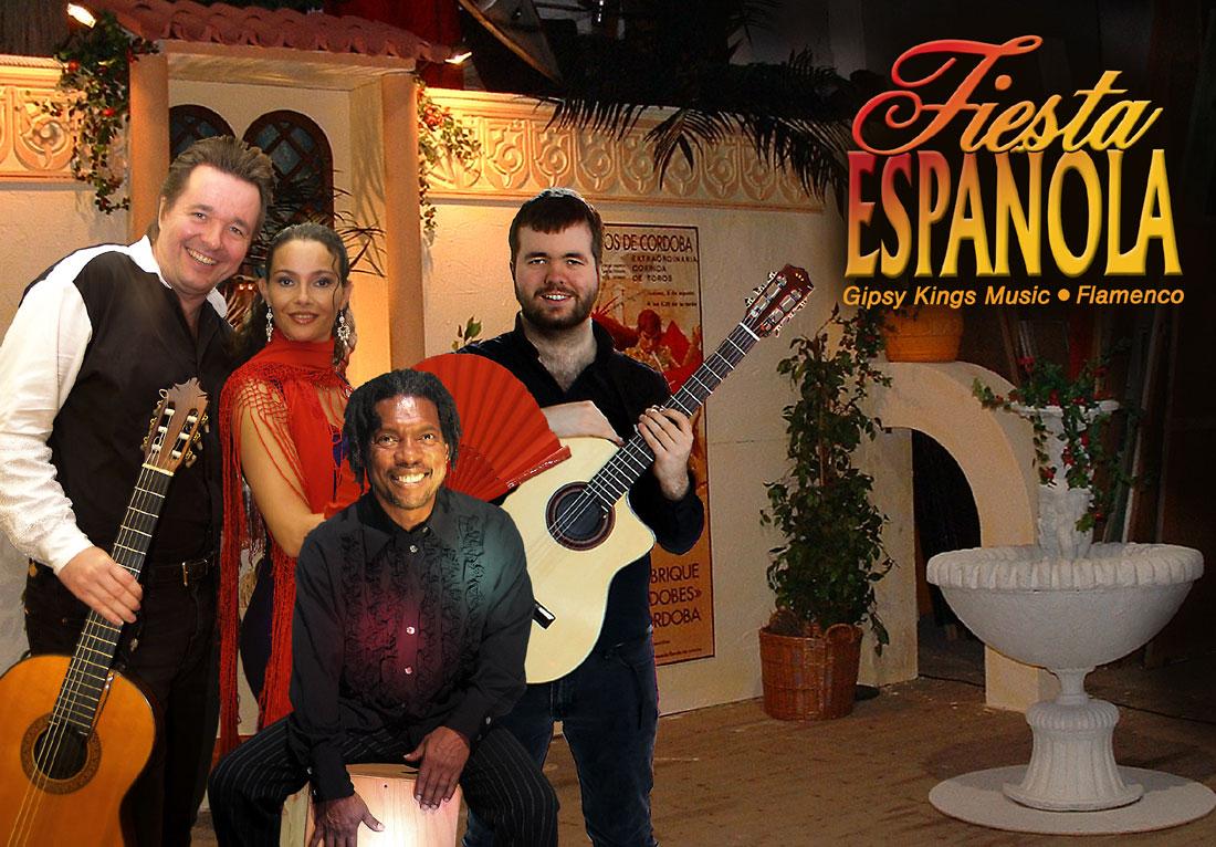 Spanische Band Los Payos mit Flamencotänzerin vor Kulisse mit Urlaubsstimmung