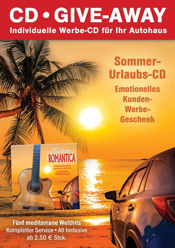 Spanische Gitarrenmusik CD als Werbegeschenk mit Auto und Palme am Meer beim Sonnenuntergang